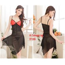 01265The new fine lace long nightgown sexy fun+Thong