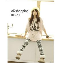 Korea imitation wool black and white knitted nine sub Leggings04520