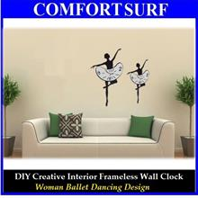 Interior Decoration Frameless DIY Wall Acrylic Clock Ballet Dance