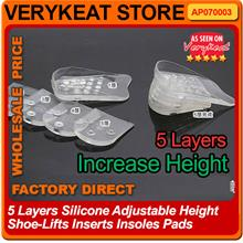 5 Layers Silicone Adjustable Height Shoe-Lifts Inserts Insoles Pads