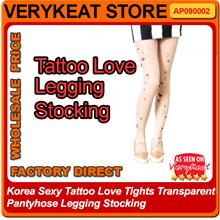 Korea Sexy Tattoo Love Tights Transparent Pantyhose Legging Stocking