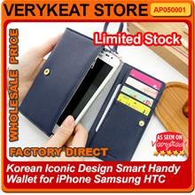 Korean Iconic Design Smart Handy Wallet for iPhone/Samsung/HTC Phone