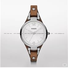 FOSSIL ES3060 Women's Analogue Georgia Leather Strap Silver Tan