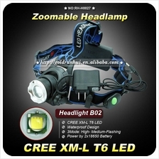 NEW Zoomable 1200Lm CREE XM-L XML T6 LED Headlamp Rechargeable