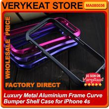 Luxury Metal Aluminum Frame Curve Bumper Shell Case for iPhone 4s