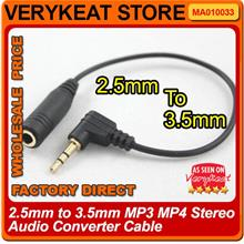 2.5mm to 3.5mm MP3 MP4 Stereo Audio Converter Cable