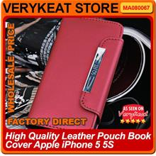 High Quality Leather Pouch Book Cover Apple iPhone 5 5S