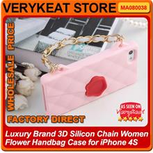 Luxury Brand 3D Silicon Chain Women Flower Handbag Case for iPhone 4S