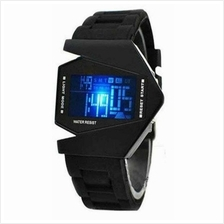 Stealth Plane Aircraft Bomber Shape Sports LED Digital Watch Silicone*