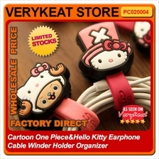 Cartoon One Piece&Hello Kitty Earphone Cable Winder Holder Organizer
