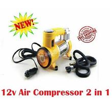 Mini Portable Fast Air Compressor DC 12V 2 In 1 Inflation Illumination