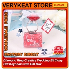 Diamond Ring Creative Wedding Birthday Gift Keychain with Gift Box
