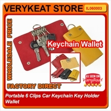 Portable 6 Clips Car Keychain Key Holder Wallet