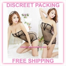 012cd1170c726 Sexy Fishnet Body Stocking Black Mini Dress Hosiery Lingerie Sleepwear