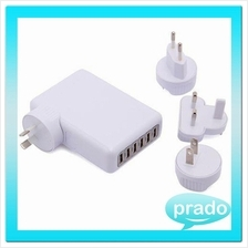 6 USB Port Universal Adapter AC Travel Charger 4A 4 Plugs EU/AU/US/UK