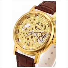 Cross Skeleton Design Unisex Manual Winding Mechanical leather Watch B