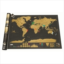 [Attractive Free Gift!] Large Deluxe Scratch Travel World Map