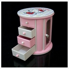 Hello Kitty Cute Mini Jewelry Music Box Cabinet Organizer