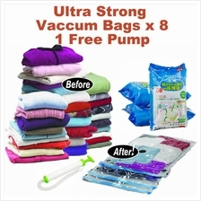 8PCS Ultra Strong Resealable Vacuum Compressed Storage Bags+ Free Pump