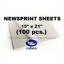 "x100 pcs. NEWSPRINT PAPER Sheets 15"" x 21"" in Roll for Pack or Sketch"