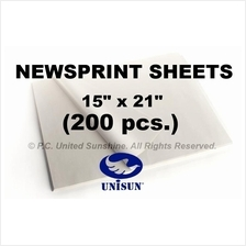 "x200 pcs. NEWSPRINT PAPER Sheets 15"" x 21"" in Roll for Pack or Sketch"