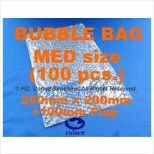 x100 pcs A4 Size BUBBLE WRAP BAG 390mm (290mm+100mm FLAP) x 250mm Pack