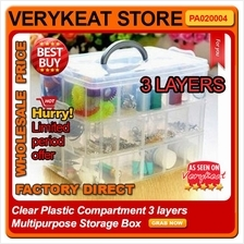 18 Cells Clear Plastic Compartment 3 layers Multipurpose Storage Box