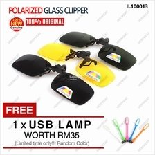 Polarized Day Night HD Vision Clip Flip Up Drive Driving Glass Glasses