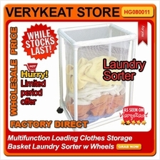 Multifunction Loading Clothes Laundry Storage Basket Sorter w Wheels