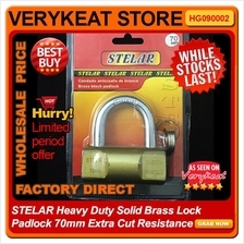 STELAR Heavy Duty Solid Brass Lock Padlock 70mm Extra Cut Resistance