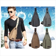 Men Canvas Shoulder Bag/Crossbody Bag/Hiking Bag/Travel Chest Bag