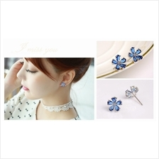 E0244 BLUE CRYSTAL FLORAL EARRING