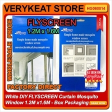 White DIY FLYSCREEN Curtain Mosquito Window 1.2M x1.6M - Box Packaging
