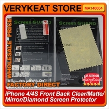 iPhone 4/4S Front Back Clear/Matte/Mirror/Diamond Screen Protector