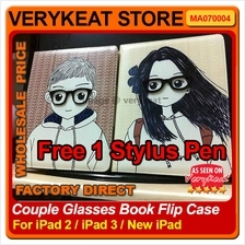 Couple Glasses Book Flip Case for ipad2/New ipad - FREE STYLUS PEN