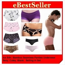 3pcs Ice Silk Bamboo Fiber Seamless Period Panties Panty Underwear