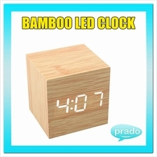 Bamboo LED Digital Clock Time Date Temperature USB Wooden Alarm Small