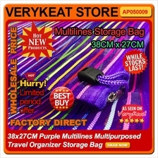 38x27CM Purple Multilines Multipurposed Travel Organizer Storage Bag
