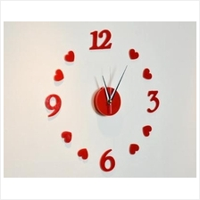 3D Wall Clock DIY Acrylic Red Heart Shape