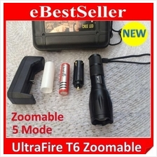 Ultrafire Brightest LED Zoomable Torch light 5 Mode Q5 T6 Flashlight