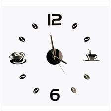 3D Wall Clock DIY Acrylic Coffee Break Coffee Bean