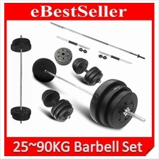 Fitness GYM 25~90 KG Dumbbell Barbell Set Quality Plating Weighing Bar