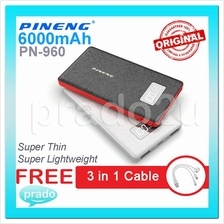 ORIGINAL PINENG PN-960 PN960 6000mAh Power Bank Dual USB FREE Cablescs