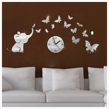 Acrylic self adhesive mirror sticker elephant with many butterflies