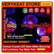 Cartoon Crystal LED Glow Glitter Bouncing Ball Luminous Toy Water Polo
