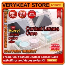Fresh Feel Fashion Contact Lenses Case with Mirror and Accessories Kit