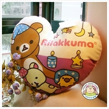 Rilakkuma Bear Lovely Love Shape Soft Plush Pillow_[RK-54]