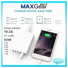 MAXGear 6 USB 10.2A Charger 51W Power Adapter iPhone Samsung Xiaomi