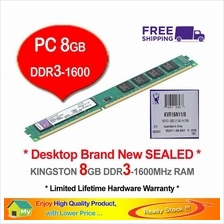 KINGSTON 8GB DDR3-1600 DESKTOP PC RAM Memory