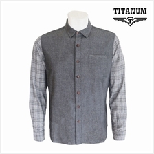 TITANUM BIG SIZE Long Sleeves Mix and Match Checked Oxford Shirt TIM9072 (Grey